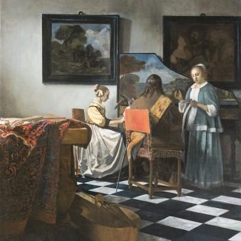 Johannes Vermeer Concerto a tre, 1663 ~ 1666 - Rubato all'Isabella Stewart-Gardner Museum di Boston nel 1990 ©️Oak Taylor Smith | Factum Arte | Sky