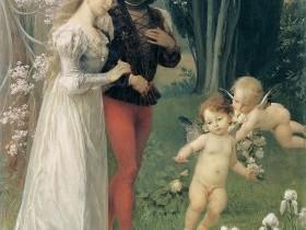 Ernst Klimt - Giovani innamorati nel giardino