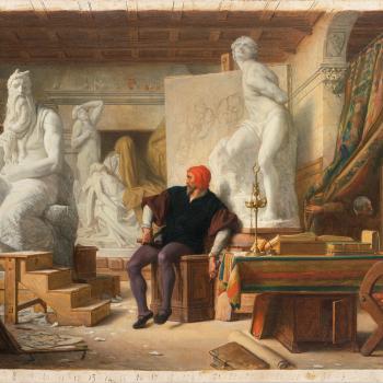 Alexandre Cabanel, Michelangelo accanto al Mosè nel suo atelier, Musée Fabre, Montpellier