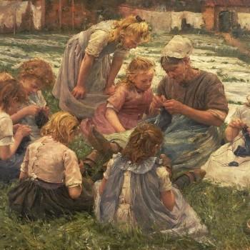 Pierre Jacques Dierckx, La lezione di ricamo, Touchstones Rochdale Museum, Touchstones Rochdale